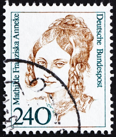 abolitionist: GERMANY - CIRCA 1988: a stamp printed in the Germany shows Mathilde Franziska Anneke, American Author, circa 1988 Editorial