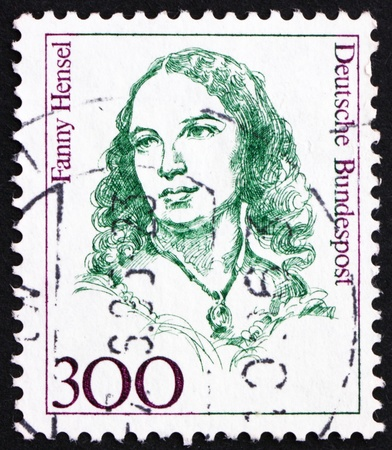 fanny: GERMANY - CIRCA 1989: a stamp printed in the Germany shows Fanny Hensel, Composer, Conductor, circa 1989