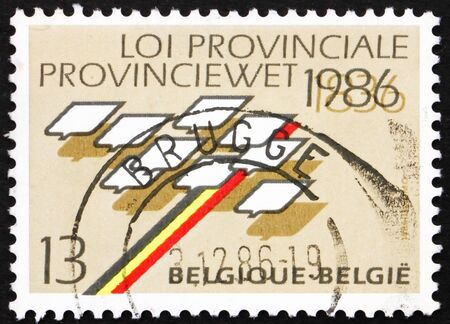 councils: BELGIUM - CIRCA 1986: a stamp printed in the Belgium shows Stylized Map of Belgium, 150th Anniversary of Provincial Law and Councils, circa 1986 Editorial