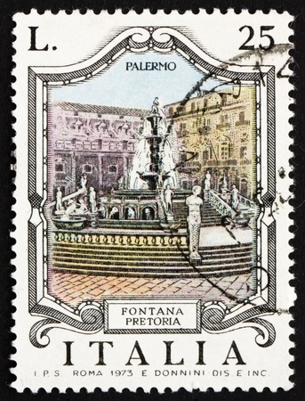 ITALY - CIRCA 1973: a stamp printed in the Italy shows Pretoria Fountain, Palermo, Italy, circa 1973 Stock Photo - 13257347