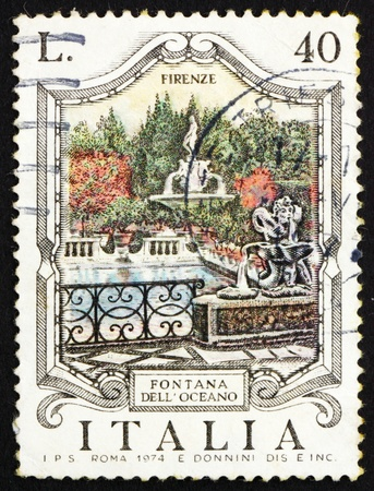 ITALY - CIRCA 1974: a stamp printed in the Italy shows Oceanus Fountain, Florence, Italy, circa 1974 Stock Photo - 13257348