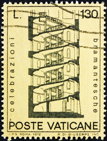 VATICAN - CIRCA 1972: a stamp printed in the Vatican shows Design for Spiral Staircase, by Bramante, circa 1972