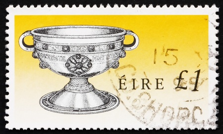 IRELAND - CIRCA 1990: a stamp printed in the Ireland shows Ardagh Chalice, Art Treasure of Ireland, circa 1990 Editorial
