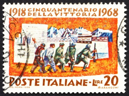 ITALY - CIRCA 1968: a stamp printed in the Italy shows Mobilization, 50th Anniversary of the Allies' Victory in WWI, circa 1968 Stock Photo - 13257330