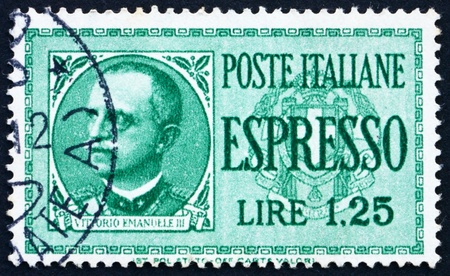ITALY - CIRCA 1932: a stamp printed in the Italy shows Victor Emmanuel III, King of Italy, 1900-1946, circa 1932