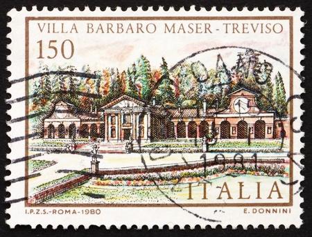 barbaro: ITALY - CIRCA 1980: a stamp printed in the Italy shows Villa Barbaro Maser, Treviso, Italia, circa 1980