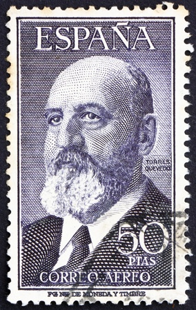 SPAIN - CIRCA 1955: a stamp printed in the Spain shows Leonardo Torres Quevedo, Mathematician and Inventor, circa 1955 Stock Photo - 13257368