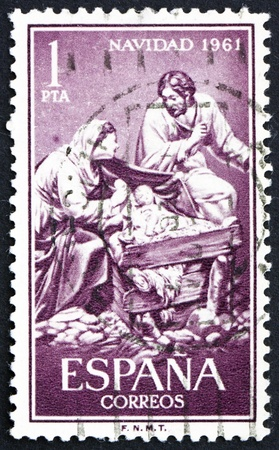 SPAIN - CIRCA 1961: a stamp printed in the Spain shows Nativity, Sculptured by Jose Gines, circa 1961 Stock Photo - 13257366