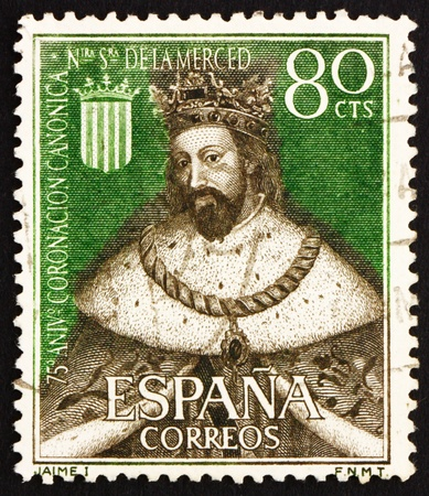 conqueror: SPAIN - CIRCA 1963: a stamp printed in the Spain shows King James I the Conqueror, King of Aragon, circa 1963