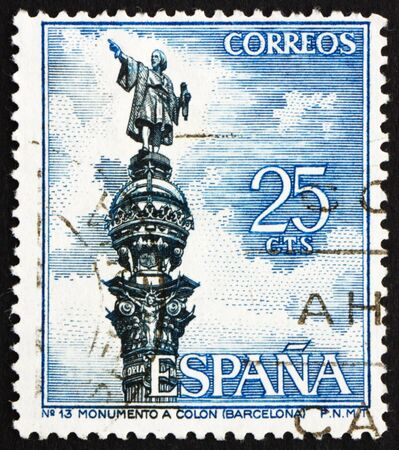 colonizer: SPAIN - CIRCA 1965: a stamp printed in the Spain shows Columbus Monument, Barcelona, Christopher Columbus, Cristobal Colon, Explorer, Colonizer, Navigator, circa 1965