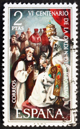 SPAIN - CIRCA 1973: a stamp printed in the Spain shows Pope Gregory XI and Pedro Fernandez Pecha, 600th Anniversary of the Founding of the Order of the Hermites of St. Jerome, circa 1973