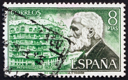 SPAIN - CIRCA 1973: a stamp printed in the Spain shows Antonio Gaudi and Casa Mila, Architect, circa 1973 Stock Photo - 13337229