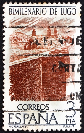 commemorate: SPAIN - CIRCA 1976: a stamp printed in the Spain shows Lugo City Wall, 2000th Anniversary of Lugo City, Galicia, circa 1976