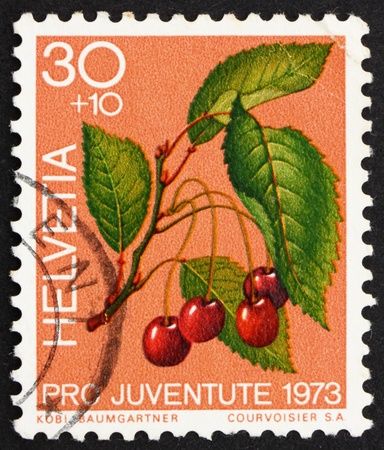 SWITZERLAND - CIRCA 1973: a stamp printed in the Switzerland shows Sweet Cherries, Prunus Avium, Bird Cherry, circa 1973 Stock Photo - 13337220