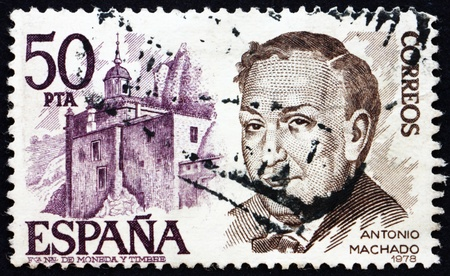 ruiz: SPAIN - CIRCA 1978: a stamp printed in the Spain shows Antonio Machado Ruiz and Castle, Poet and Playwright, circa 1978 Editorial