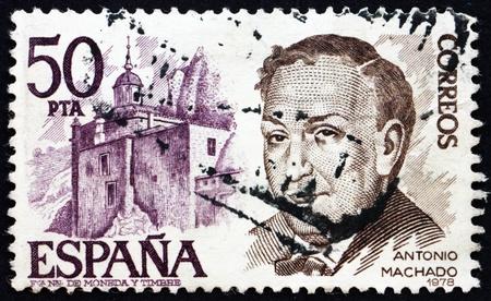 ruiz: SPAIN - CIRCA 1978: a stamp printed in the Spain shows Antonio Machado Ruiz and Castle, Poet and Playwright, circa 1978 Editorial