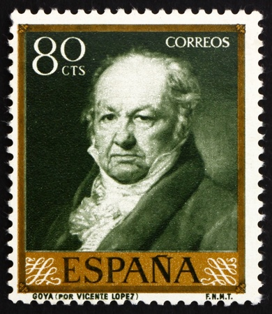 printmaker: SPAIN - CIRCA 1958: a stamp printed in the Spain shows Portrait of Goya by Vicente Lopez, circa 1958