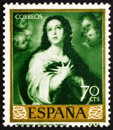 murillo: SPAIN - CIRCA 1960: a stamp printed in the Spain shows Immaculate Conception, Painting by Murillo, circa 1960