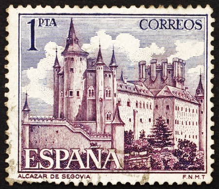 SPAIN - CIRCA 1964: a stamp printed in the Spain shows Alcazar of Segovia, Spain, circa 1964 Stock Photo - 13337236