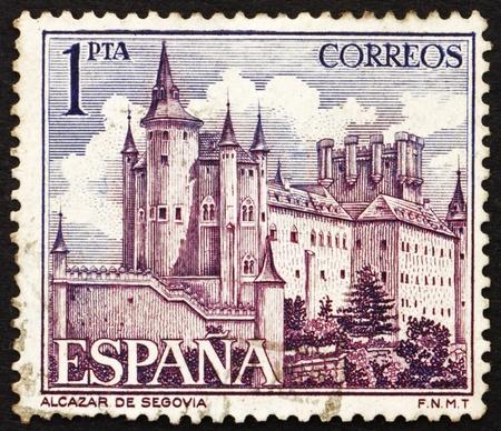 SPAIN - CIRCA 1964: a stamp printed in the Spain shows Alcazar of Segovia, Spain, circa 1964 Stock Photo - 13337236