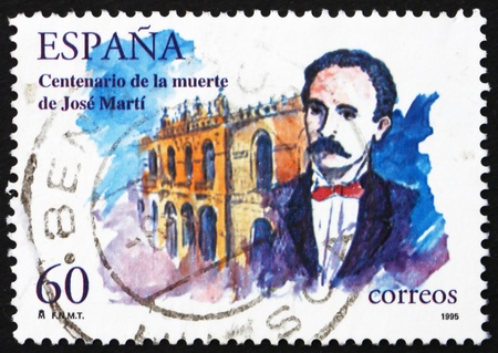 essayist: SPAIN - CIRCA 1995: a stamp printed in the Spain shows Jose Marti, Cuban Writer, Poet, Nationalist Leader, circa 1995 Editorial