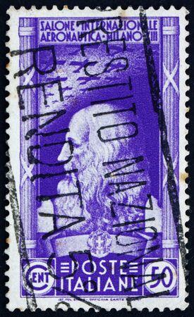 ITALY - CIRCA 1935: a stamp printed in the Italy shows Leonardo da Vinci, International Aeronautical Salon, Milan, circa 1935 Stock Photo - 13337832