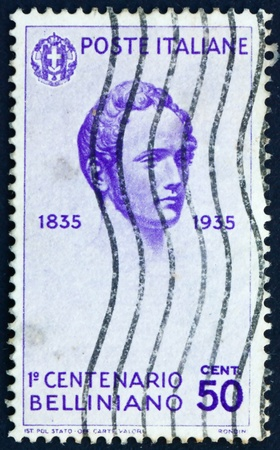 bellini: ITALY - CIRCA 1935: a stamp printed in the Italy shows Vincenzo Bellini, Operatic Composer, circa 1935