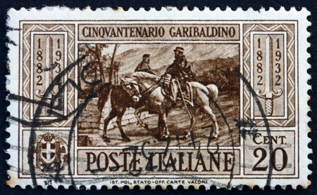 ITALY - CIRCA 1932: a stamp printed in the Italy shows Garibaldi meeting King Victor Emmanuel II, 50th Anniversary of the Death of Giuseppe Garibaldi, Patriot, circa 1932