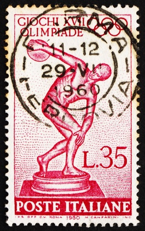 ITALY - CIRCA 1960: a stamp printed in the Italy shows Statue of Discobolus by Myron, 17th Olympic Games, Rome, circa 1960