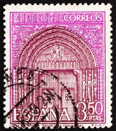 SPAIN - CIRCA 1968: a stamp printed in the Spain shows Portal of St. Mary�s Church, Sanguesa, Navarre, Spain, circa 1968 Stock Photo - 13365116