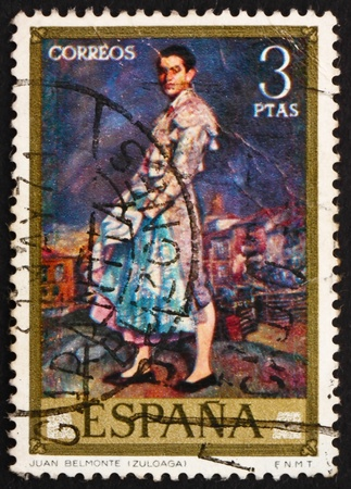SPAIN - CIRCA 1971: a stamp printed in the Spain shows Portrait of Juan Belmonte, painting by Ignacio Zuloaga, circa 1971