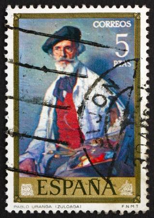 ignacio: SPAIN - CIRCA 1971: a stamp printed in the Spain shows Portrait of Pablo Uranga, painting by Ignacio Zuloaga, circa 1971 Editorial