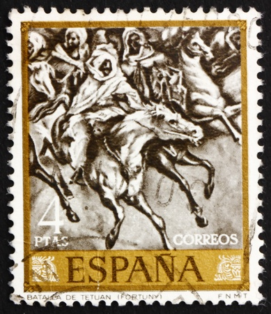 mariano: SPAIN - CIRCA 1968: a stamp printed in the Spain shows Battle of Tetuan 1860, Painting by Mariano Fortuny, circa 1968