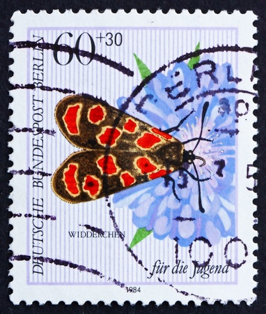 GERMANY - CIRCA 1984: a stamp printed in the Germany Berlin shows Butterfly, Agrumenia Carniolioa, circa 1984
