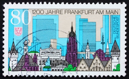GERMANY - CIRCA 1994: a stamp printed in the Germany shows View of Frankfurt Am Main, 1200th Anniversary, circa 1994