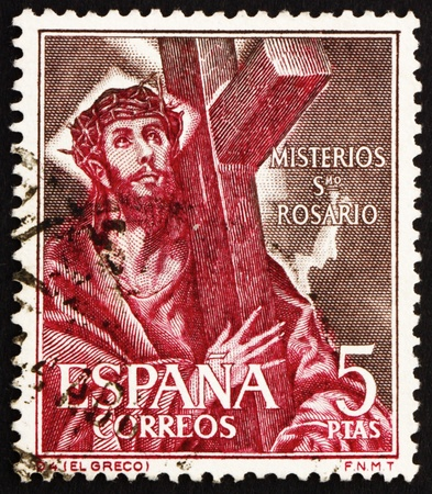 spaniard: SPAIN - CIRCA 1961: a stamp printed in the Spain shows Jesus Christ Carrying Cross, circa 1961