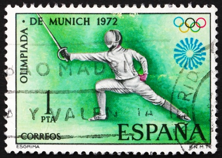SPAIN - CIRCA 1972: a stamp printed in the Spain shows Fencing, Olympic Sport, Munich 1972, circa 1972