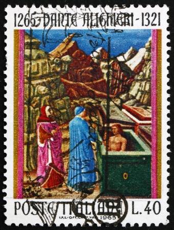 dante alighieri: ITALY - CIRCA 1965: a stamp printed in the Italy shows Dante in Hell, Design from Old Manuscript, Dante Alighieri, poet, circa 1965