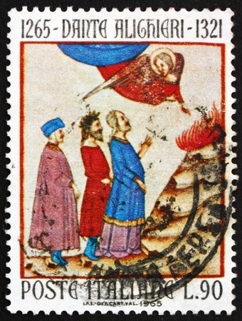 dante alighieri: ITALY - CIRCA 1965: a stamp printed in the Italy shows Dante in Purgatory Led by Angel of Chastity, Design from Old Manuscript, Dante Alighieri, poet, circa 1965 Editorial