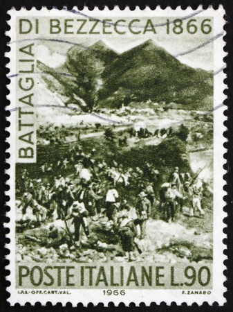 ITALY - CIRCA 1966: a stamp printed in the Italy shows Battle of Bezzecca, Centenary of the Unification of Italy and of the Battle of Bezzecca, circa 1966 Stock Photo - 13512300