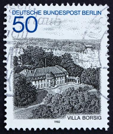 GERMANY - CIRCA 1982: a stamp printed in the Germany shows Villa Borsig, Lake Tegel, Berlin, circa 1982