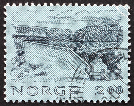 NORWAY - CIRCA 1979: a stamp printed in the Norway shows Vessingsjo Dam, Nea, Norwegian Engineering, circa 1979