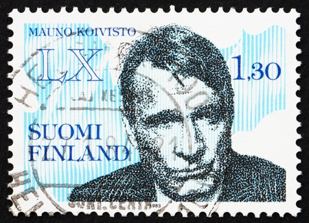 FINLAND - CIRCA 1983: a stamp printed in the Finland shows Mauno Henrik Koivisto, 9th President of the Republic of Finland, 60th Birthday, circa 1983 Stock Photo - 13512312
