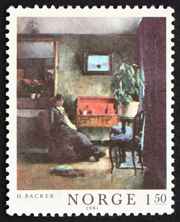 NORWAY - CIRCA 1981: a stamp printed in the Norway shows Interior in Blue, Painting by Harriet Backer, circa 1981 Stock Photo - 13512316