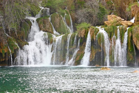 National park Krka, waterfall on Krka river, Croatia photo
