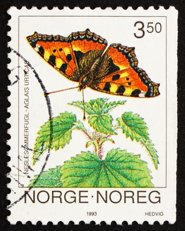 NORWAY - CIRCA 1993: a stamp printed in the Norway shows Small Tortoiseshell, Aglais Urticae, Butterfly, circa 1993