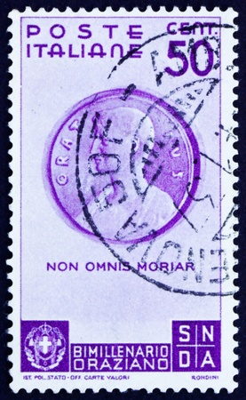 horace: ITALY - CIRCA 1936: a stamp printed in the Italy shows Bust of Horace, 2000th Anniversary of the Birth of Quintus Horatius Flacus (Horace), Roman Poet, circa 1936 Editorial