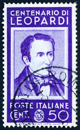 essayist: ITALY - CIRCA 1937: a stamp printed in the Italy shows Count Giacomo Leopardi, poet, circa 1937