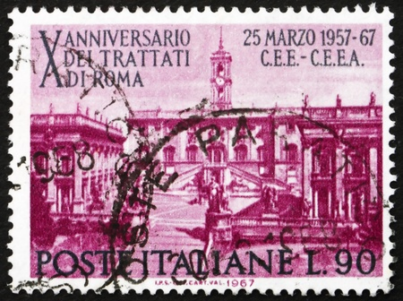 establishing: ITALY - CIRCA 1967: a stamp printed in the Italy shows Seat of Parliament on Capitoline Hill, Rome, 10th of the Treaty of Rome, Establishing the European Common Market, circa 1967