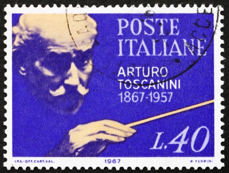 arturo: ITALY - CIRCA 1967: a stamp printed in the Italy shows Arturo Toscanini, Conductor, circa 1967 Editorial